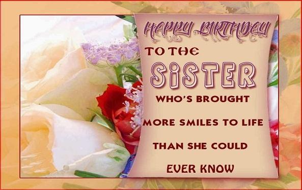 Happy birthday sister e-card wallpaper.