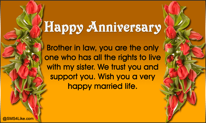 Happy Anniversary To Sister And Brother In Law Sms4like